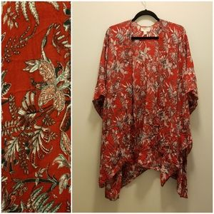 Loft Red Floral Kimono Wrap